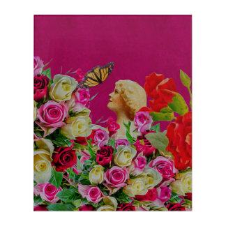 ヴィンテージの女性によっては蝶が開花します アクリルウォールアート