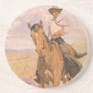 ヴィンテージの女性のカーボーイのカウボーイ、Dunton著馬の女性 コースター