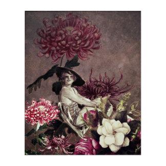 ヴィンテージの女性のガラス花のコラージュ アクリルウォールアート