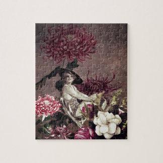 ヴィンテージの女性のガラス花のコラージュ ジグゾーパズル