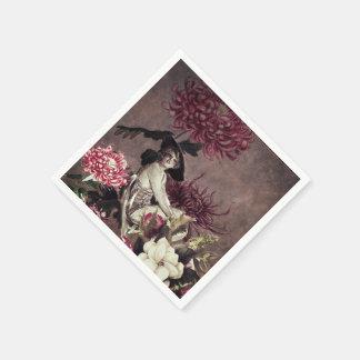 ヴィンテージの女性のガラス花のコラージュ スタンダードカクテルナプキン