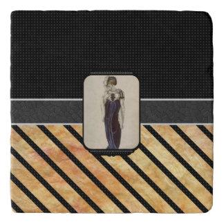 ヴィンテージの女性のストライプパターン トリベット