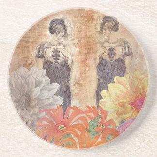 ヴィンテージの女性の反射の花 コースター