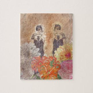 ヴィンテージの女性の反射の花 パズル