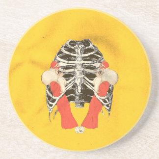 ヴィンテージの女性の唇のRibcageの黄色いグランジ コースター
