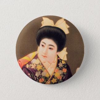 ヴィンテージの女性の日本ので美しい芸者の女性 5.7CM 丸型バッジ