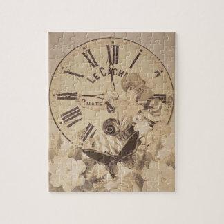 ヴィンテージの女性の時計猫の花 ジグソーパズル