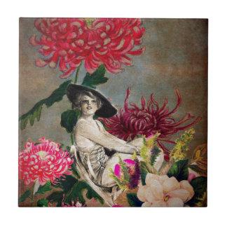 ヴィンテージの女性の花のコラージュ タイル