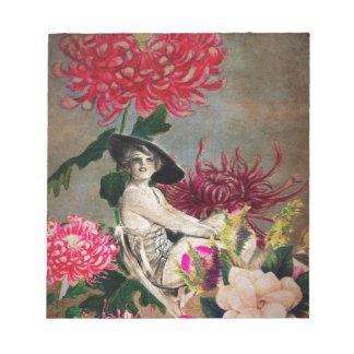 ヴィンテージの女性の花のコラージュ ノートパッド