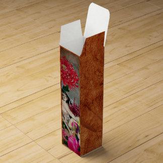 ヴィンテージの女性の花のコラージュ ワインギフトボックス