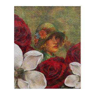 ヴィンテージの女性の花のバラ アクリルウォールアート
