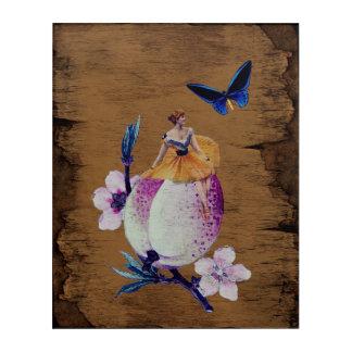 ヴィンテージの女性の花木質 アクリルウォールアート