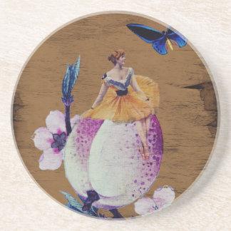 ヴィンテージの女性の花木質 コースター