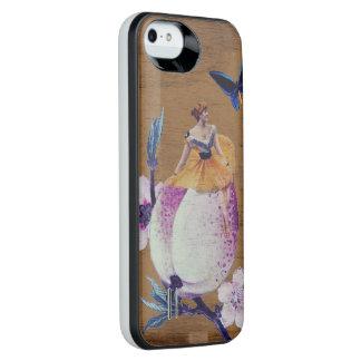 ヴィンテージの女性の花木質 iPhone SE/5/5sバッテリーケース
