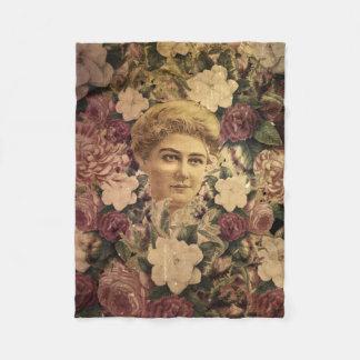 ヴィンテージの女性の花GrungeII フリースブランケット