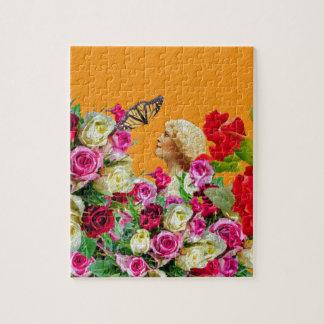 ヴィンテージの女性の蝶花柄のコラージュ ジグソーパズル