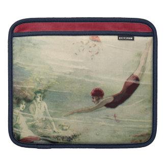 ヴィンテージの女性の飛び込みの水中人魚の海水 iPadスリーブ