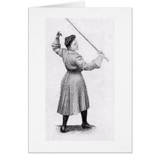 ヴィンテージの女性のFencer! メッセージカードを囲うヴィンテージ カード