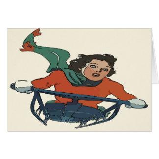 ヴィンテージの女性のSledding カード