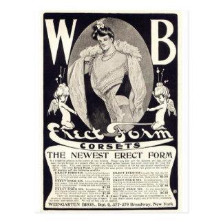 ヴィンテージの女性コルセット広告 ポストカード