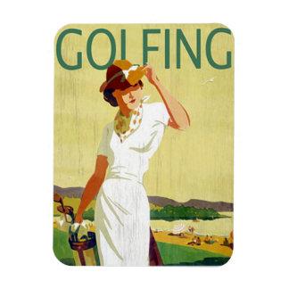 ヴィンテージの女性ゴルファーゴルフをする磁石 マグネット