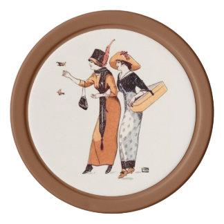 ヴィンテージの女性ファッションの地球の調子ブラウン ポーカーチップ