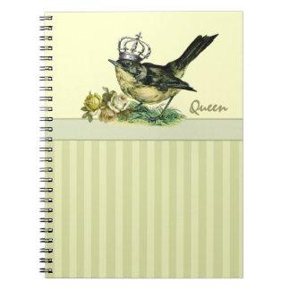 ヴィンテージの女王Bird.Valentine日のギフトのノート ノートブック