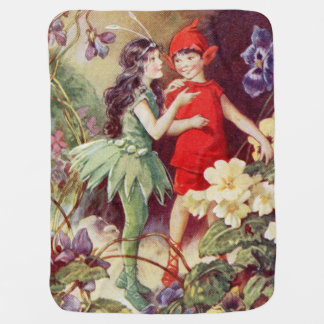 ヴィンテージの妖精および小妖精や小人のベビーブランケット ベビー ブランケット