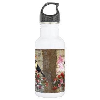 ヴィンテージの妖精および鳥のコラージュ ウォーターボトル