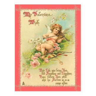 ヴィンテージの妖精の国のバレンタインの郵便はがき ポストカード