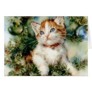 ヴィンテージの子ネコのクリスマスのメッセージカード カード