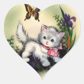 ヴィンテージの子ネコのステッカー ハートシール
