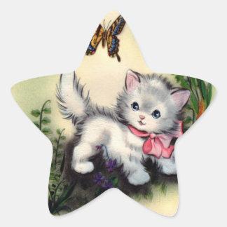 ヴィンテージの子ネコのステッカー 星シール