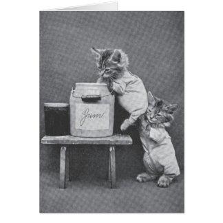 ヴィンテージの子ネコのメッセージカード カード