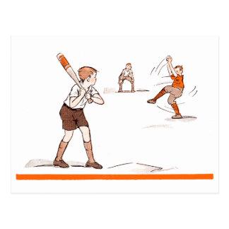 ヴィンテージの子供の男の子の野球の試合 ポストカード
