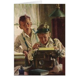 ヴィンテージの子供の男の子新聞ジャーナリスト、作家 カード