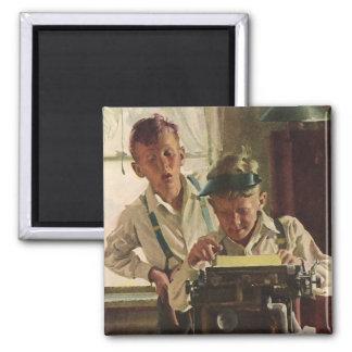 ヴィンテージの子供の男の子新聞ジャーナリスト、作家 マグネット