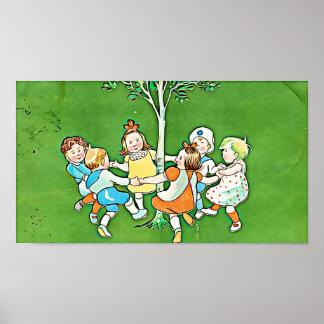 ヴィンテージの子供ポスター、よくはしゃぐな子供の踊ること ポスター