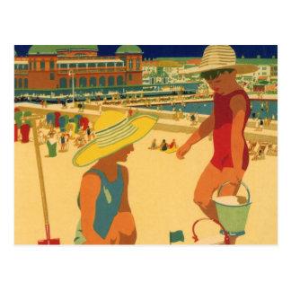ヴィンテージの子供、ビーチの姉妹の家族休暇 ポストカード
