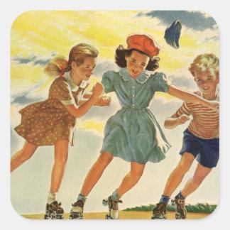 ヴィンテージの子供、男の子の女の子のおもしろいのローラースケートで滑る スクエアシール
