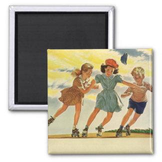 ヴィンテージの子供、男の子の女の子のおもしろいのローラースケートで滑る マグネット