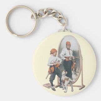 ヴィンテージの子供、男の子の海賊、犬、鏡、バッカニア キーホルダー
