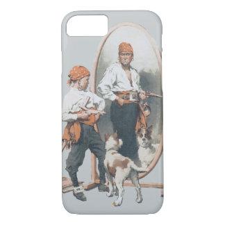 ヴィンテージの子供、男の子の海賊、犬、鏡、バッカニア iPhone 8/7ケース
