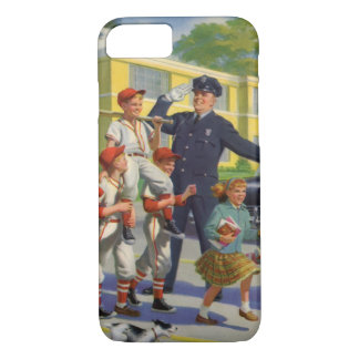 ヴィンテージの子供、野球選手の交通指導員 iPhone 7ケース