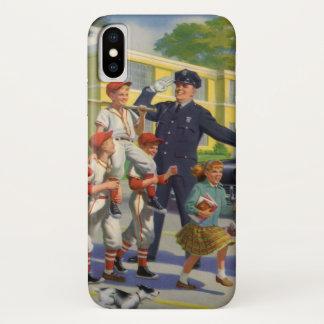 ヴィンテージの子供、野球選手の交通指導員 iPhone X ケース