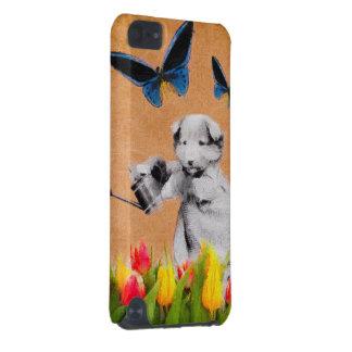 ヴィンテージの子犬によっては蝶グランジなIIが開花します iPod TOUCH 5G ケース