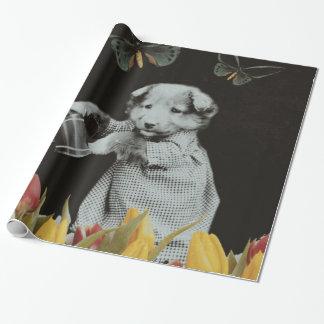 ヴィンテージの子犬によっては蝶Blkが開花します ラッピングペーパー