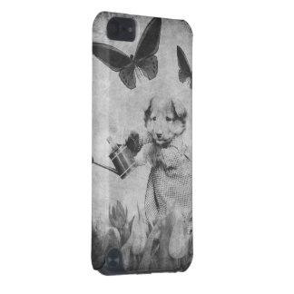 ヴィンテージの子犬によっては蝶Blk&Whtが開花します iPod Touch 5G ケース