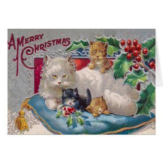 ヴィンテージの子猫猫のクリスマスカードは、それをカスタマイズ カード