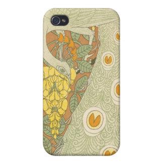 ヴィンテージの孔雀のアールヌーボーのiPhoneカバー iPhone 4/4S ケース